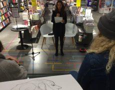Politikens Boghal havde inviteret Cecilie til en speedtalk om kunstmalebogen på Kulturnatten